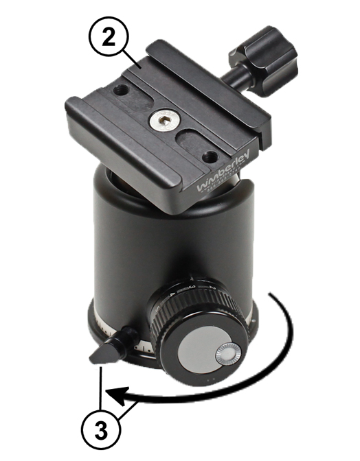 Wimberley C-11 QR Clamp mounted on Arca-Swiss Z1 ball head showing need for Arca-Swiss style clamp & independent panning lock
